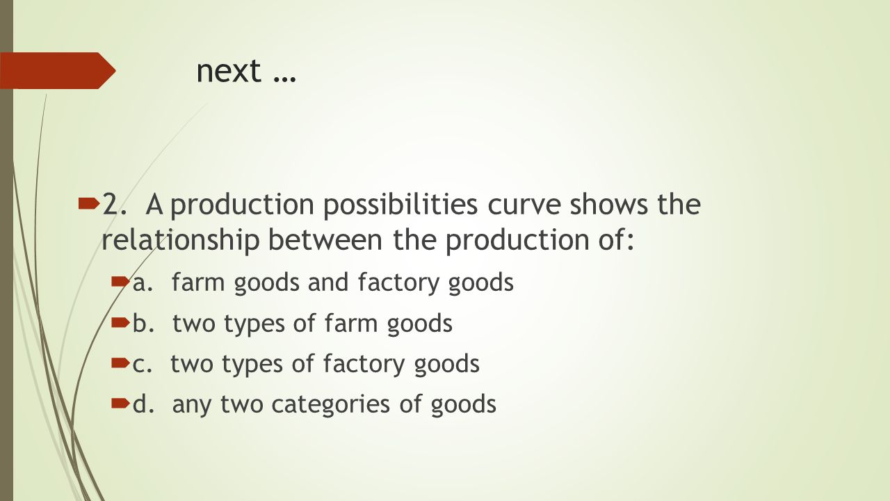 Production possibilities curve the trade offs between two options