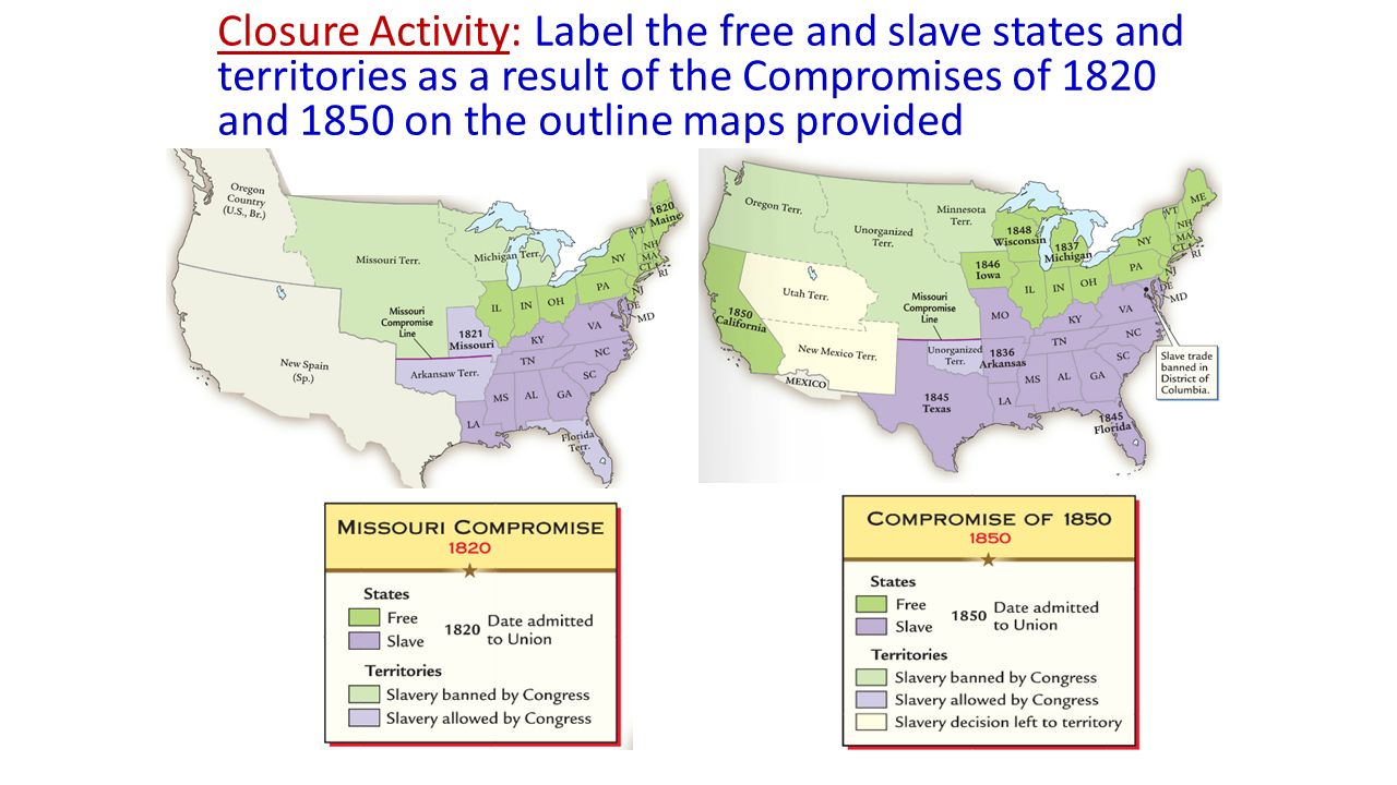 From The North And South Became Vastly Different Regions Ppt - Map of us in 1860 free and slave states
