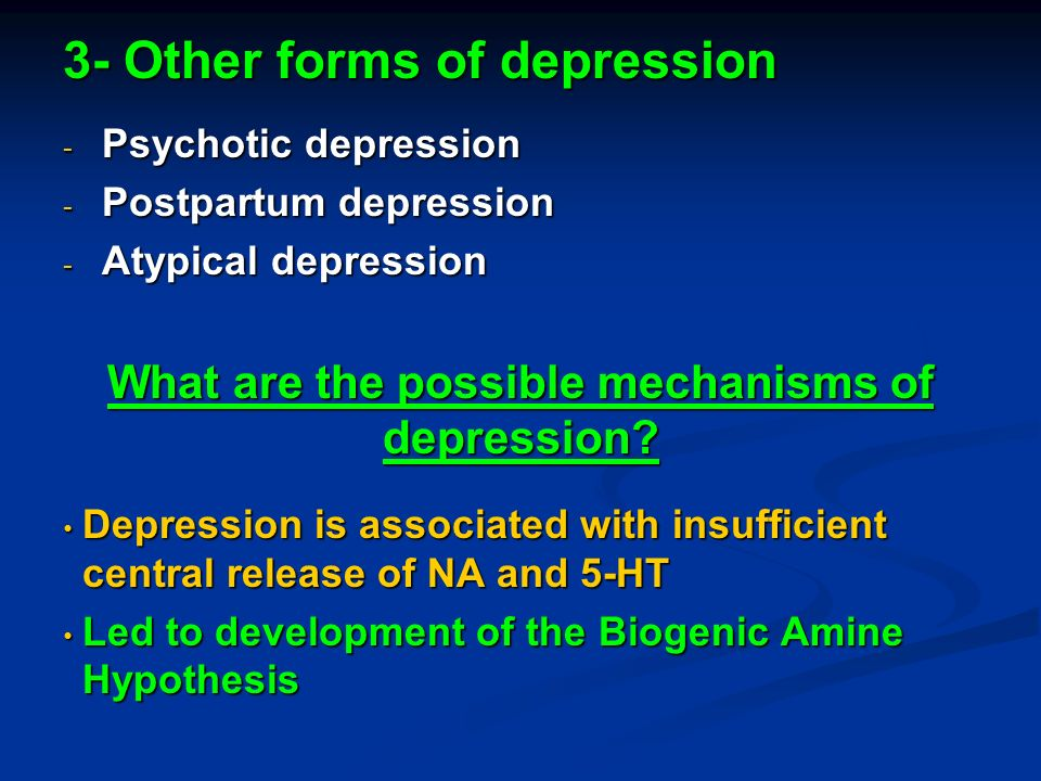 monoamine theory of depression Understanding depression and anxiety 41 the monoamine hypothesis of mood disorders in the 1950s it was noticed that around 20% of those patients prescribed the drug reserpine, used at the time to control high blood pressure, developed severe depression as a side effect.