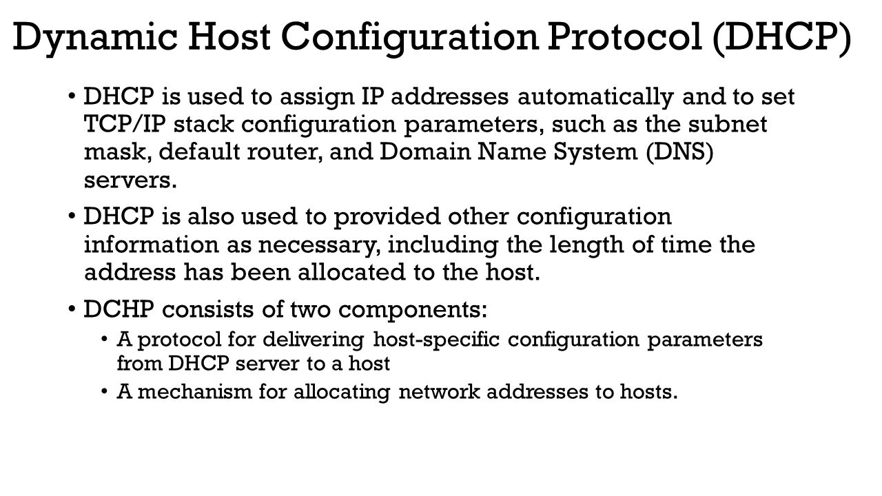 dynamic host configuration protocol 2 essay Dhcp (dynamic host configuration protocol) is a network management protocol  used to dynamically assign an internet protocol (ip) address to any device,.