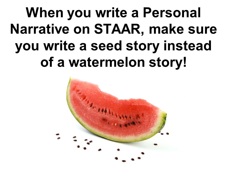 writing a personal narrative ppt video online 5 when you write a personal narrative on staar make sure you write a seed story instead of a watermelon story