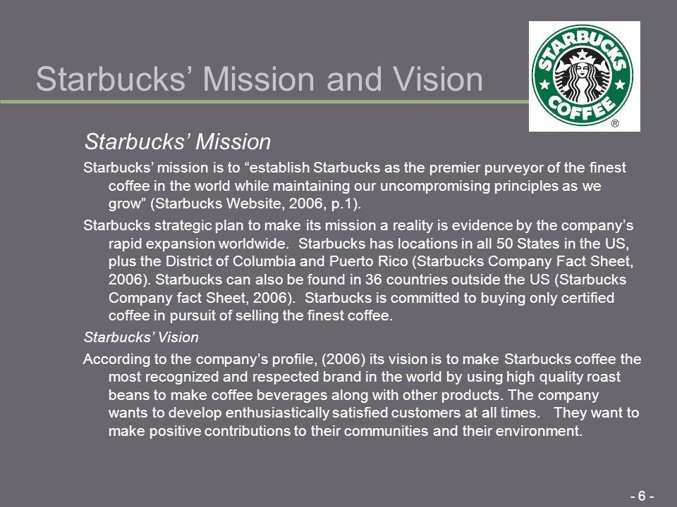 An analysis of starbucks mission statement