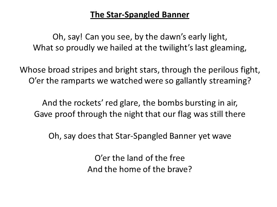 Lyric star banner lyrics : The Star-Spangled Banner - ppt video online download