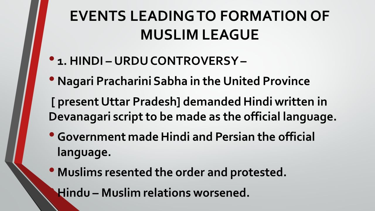 formation of muslim league Muslim league dec, 30, 1906 reasons for the formation of all india muslim league 1 urdu hindi conflict main reason urdu hindi conflict at banaras in 1867 the.