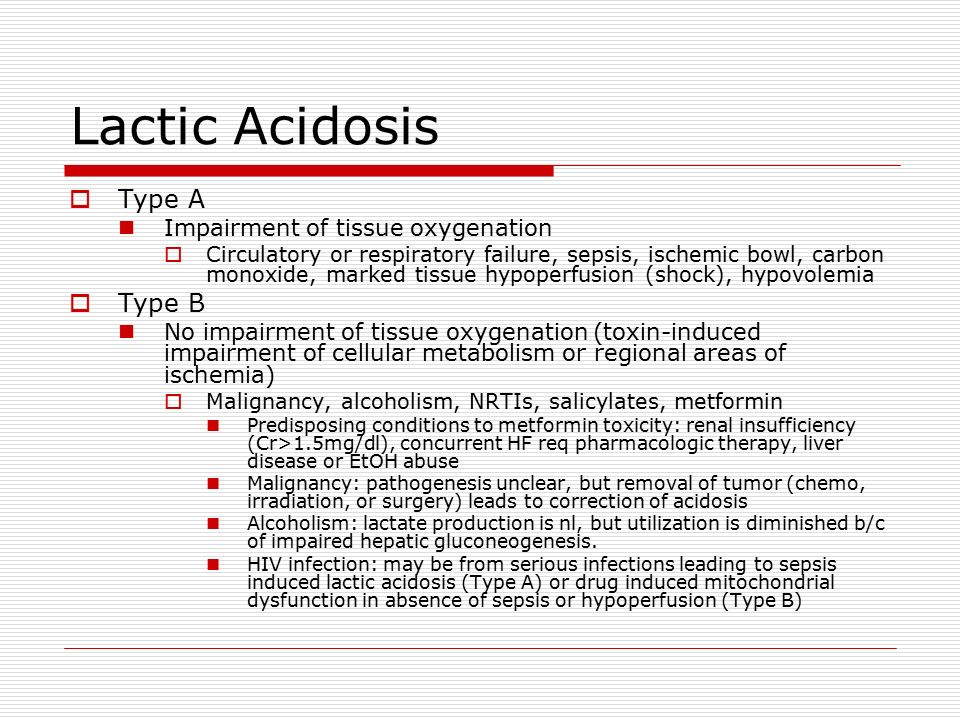 lactic acidosis This emedtv resource looks at a life-threatening potential side effect of metformin: lactic acidosis this page describes some of the symptoms of lactic acidosis and lists some of the factors that can increase your risk of developing this condition.