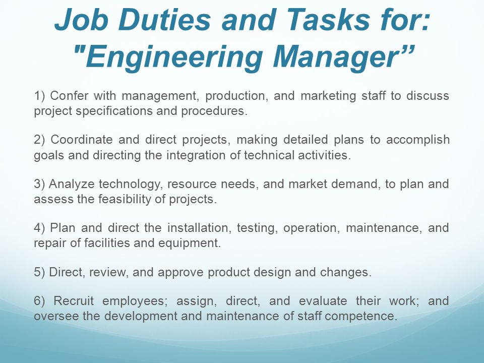 Engineering manager job description - Chief marketing officer job description ...