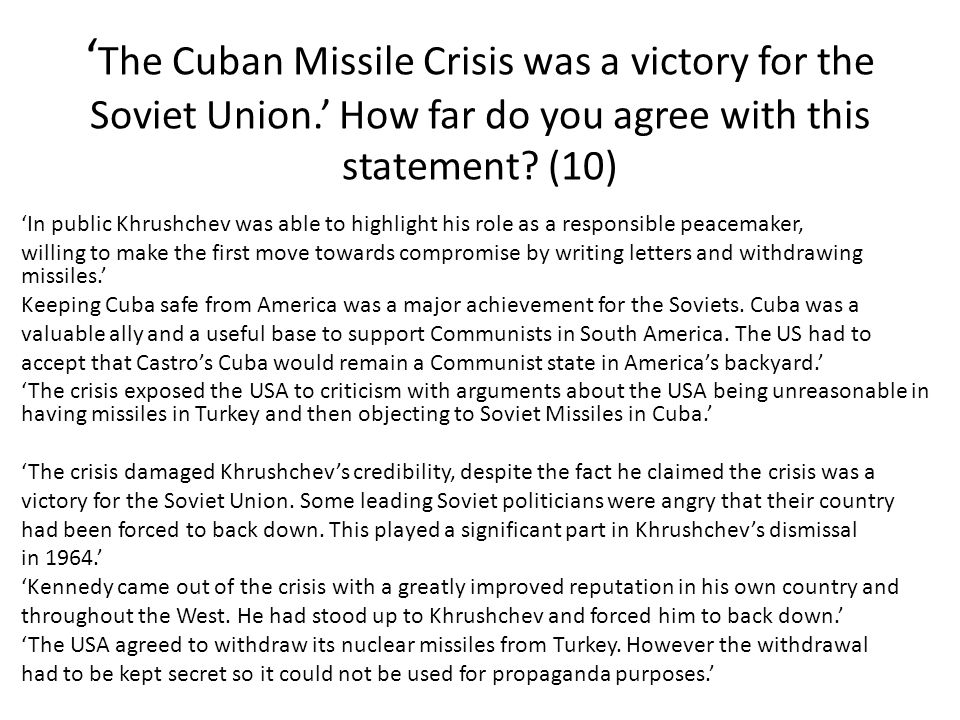 A simulation of the cuban missile crisis in relation to ussr