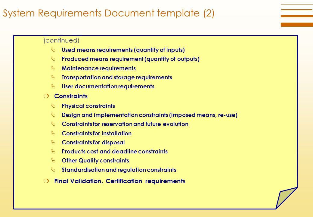 Technical requirements definition process ppt download for User requirement document template
