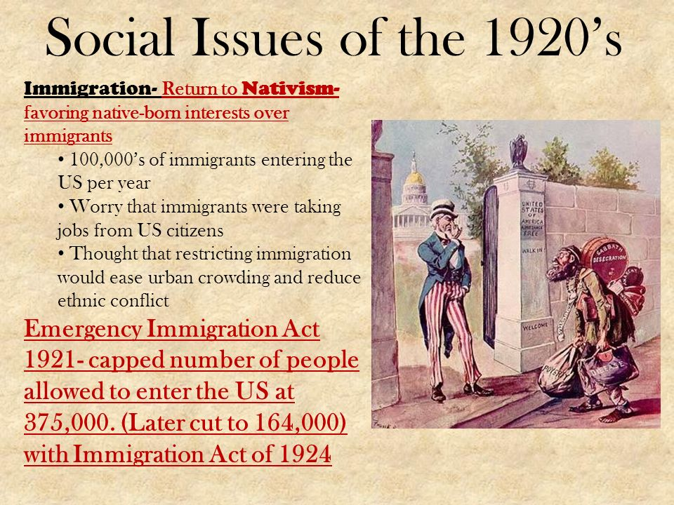 """the social impact of immigration and prohibition during the 1920s Ratified by the eighteenth amendment in 1920, prohibition this dispute over ethics during the """"roaring twenties social change the roaring twenties."""