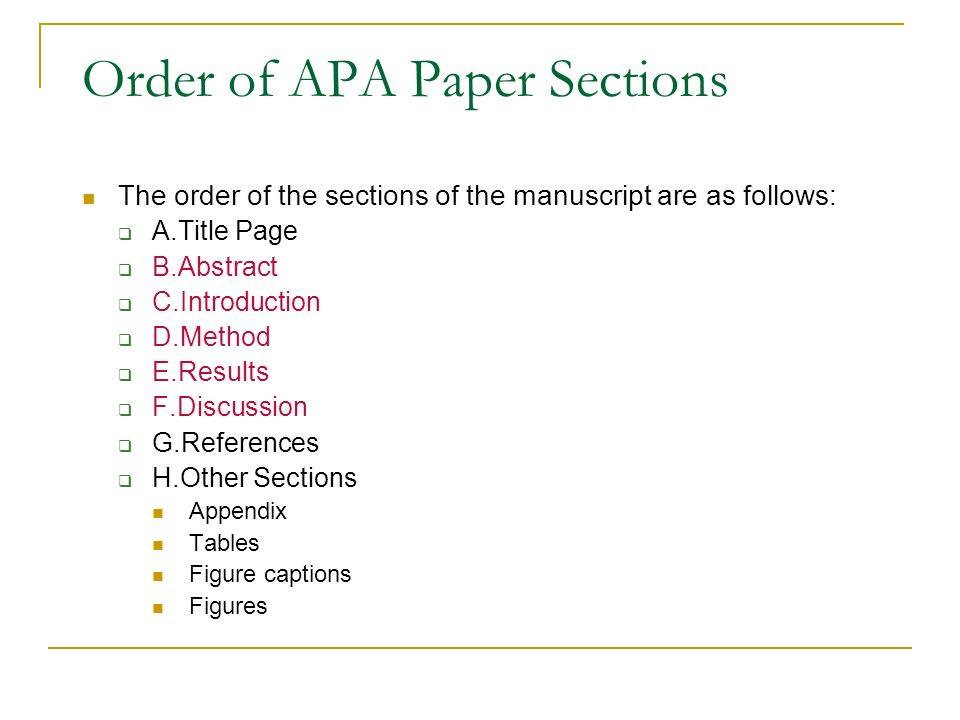 results section of a research paper in apa format A quick guide to writing a psychology lab-report abstract - introduction - method - results - discussion to ethical guidelines you will also be likely to write your paper according to apa style unless you are observing public behavior, participants should be volunteers and told what your research is about if possible.