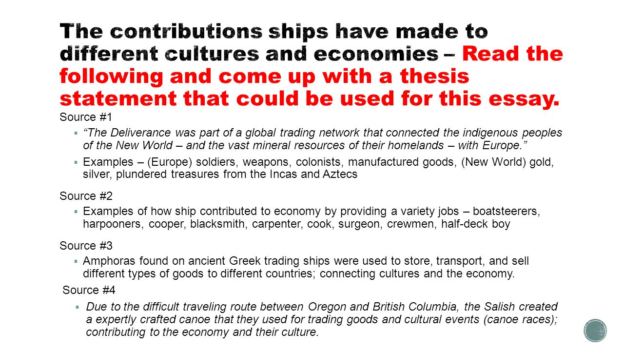 the contributions ships have made to different cultures and  8 the contributions