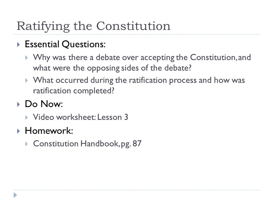 A New Constitution Chapter 4 Lesson ppt download – Ratifying the Constitution Worksheet