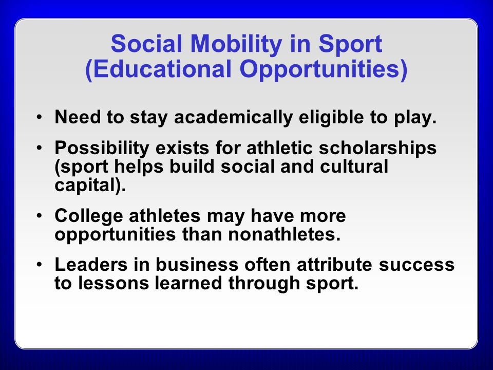 social class with sport Social issues in sport introduces students to a sociological study of sport and is the first book to draw mainly from british sources for its material it aims to describe the nature and extent of sporting issues prevalent in society, to analyse research studies in sport and offer explanations for .