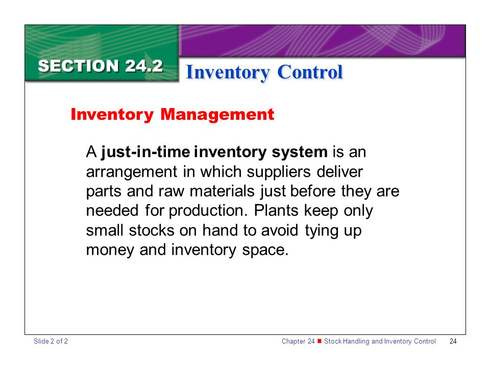 an analysis of just in time manufacturing and inventory control system Just-in-time (jit) inventory control reduces the amount of inventory that a  this  control system does so by pulling demand through a production facility, where.