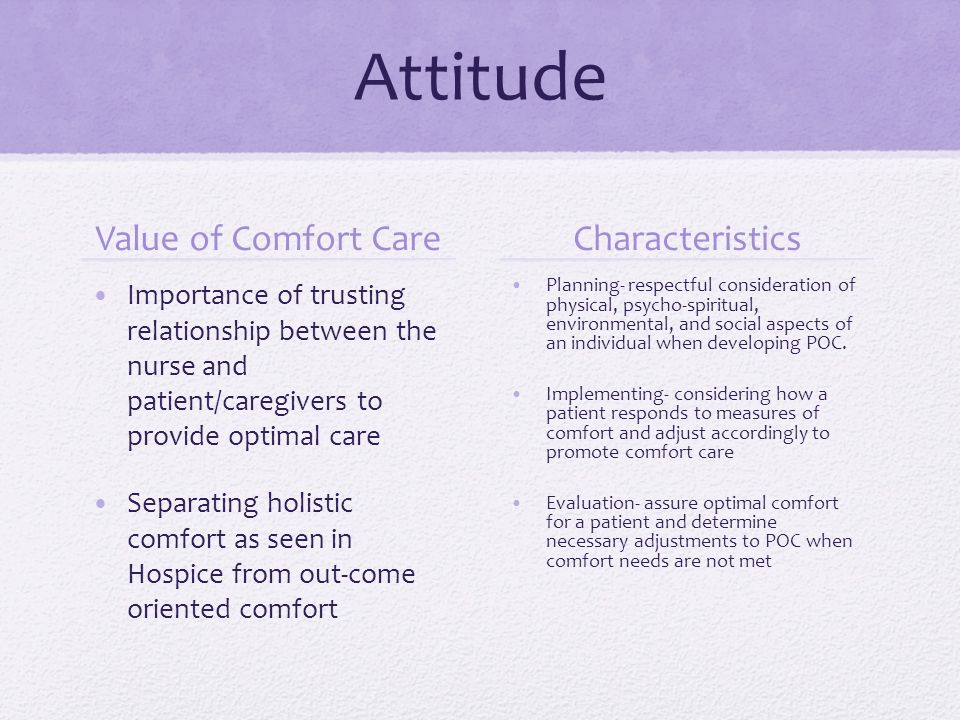the relationship between kolcabas comfort theory Several empirical tests of comfort theory have been conducted by kolcaba & associates (kolcaba, 2006) the theory of comfort directs research in several ways: it guides nurses to test relationships between particular holistic interventions and comfort.