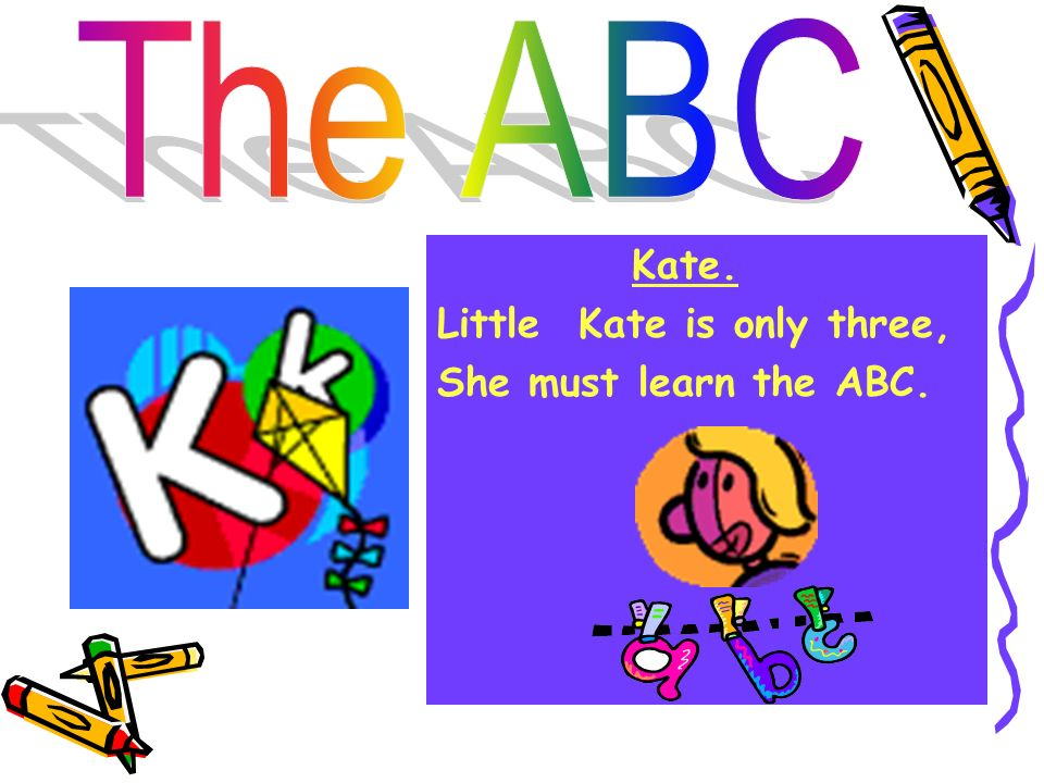 The ABC Kate. Little Kate is only three, She must learn the ABC.