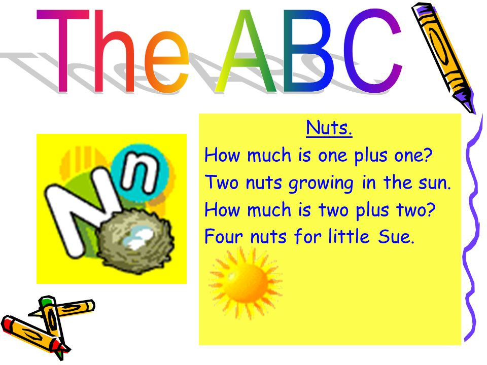The ABC Nuts. How much is one plus one. Two nuts growing in the sun.