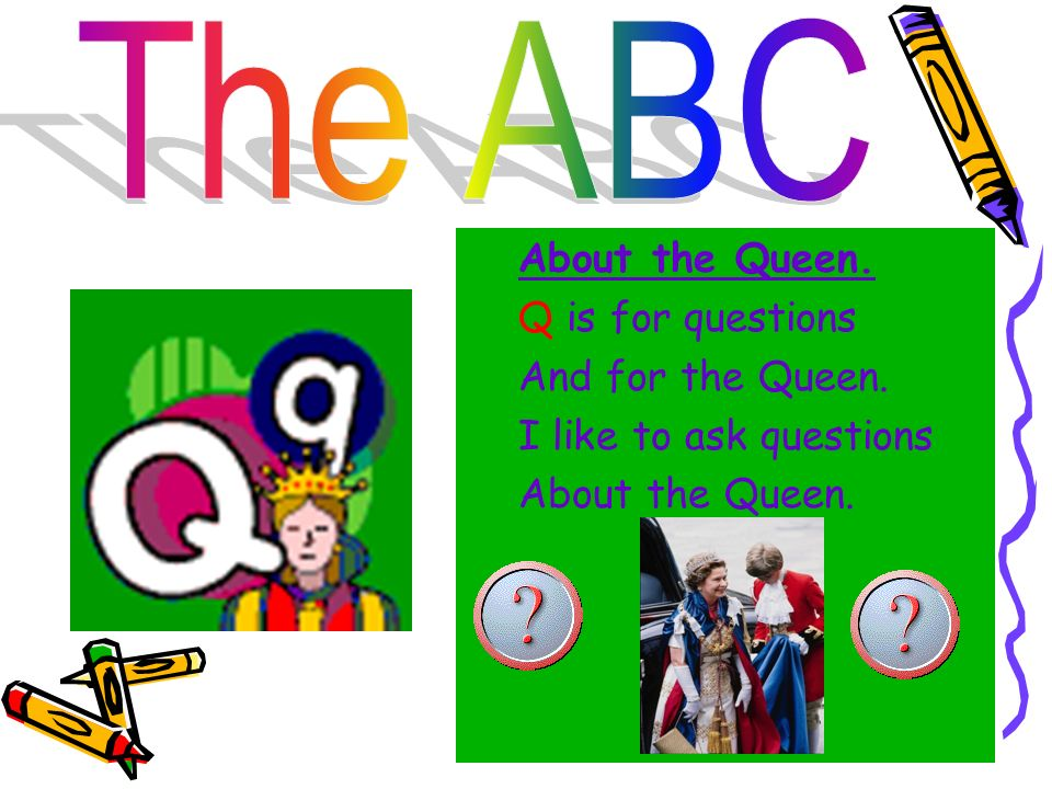 The ABC About the Queen. Q is for questions And for the Queen.