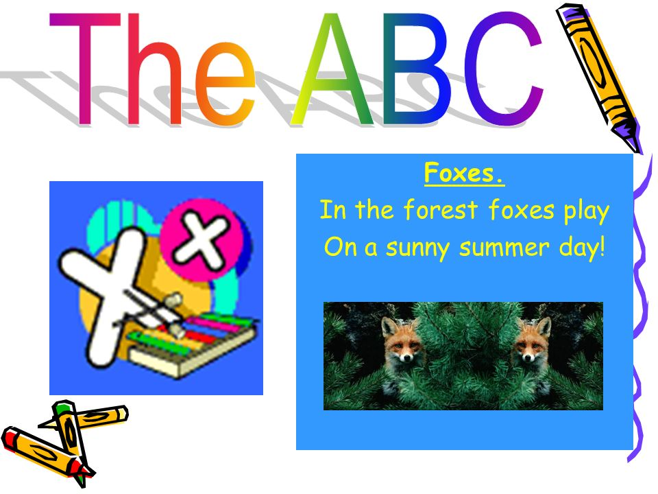 Foxes. In the forest foxes play On a sunny summer day!