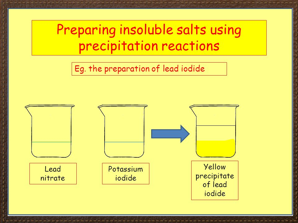 preparation of a salt lead iodide Acid and base are fundamental to inorganic chemistry determination of iodide in stannic iodide sni4 preparation of chromium(vi) oxide preparation of mohrs salt preparation of lead chromate and barium chromate (precipitation) preparation of chrom alum preparation of lead dioxide.