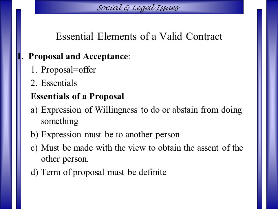 Valid Contract Essential Elements Essential Elements Indian