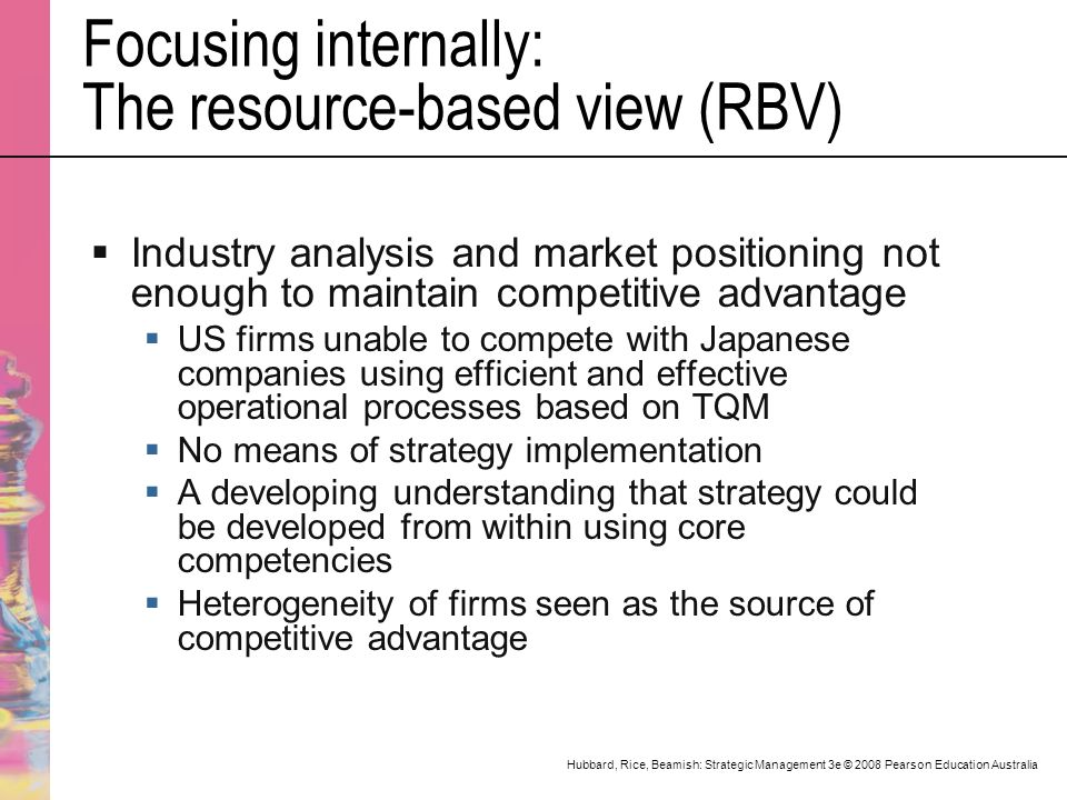 resource based view of firms competitive advantage The resource-based theory of competitive advantage:  competitive advantage a resource-based approach to  huge barrier for other firms to enter the market making.