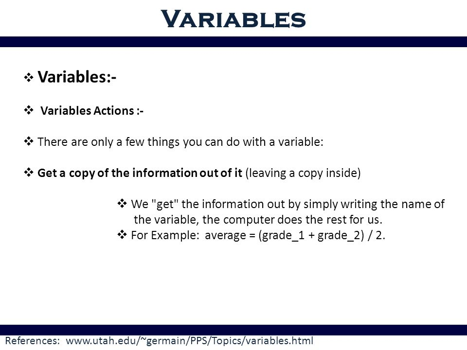 Variables Variables Ppt Video Online Download