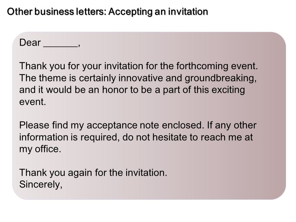 Sample business letters inquiry ppt video online download other business letters accepting an invitation stopboris Choice Image