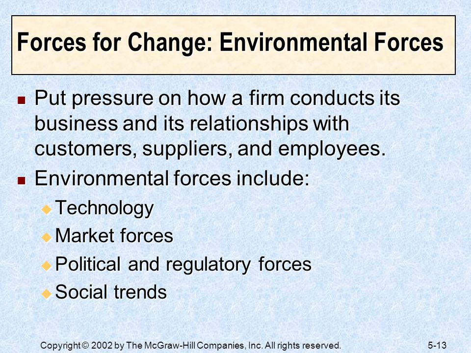 Forces for Change: Environmental Forces