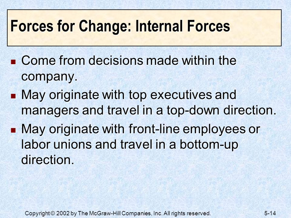 Forces for Change: Internal Forces