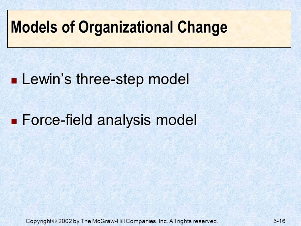 Models of Organizational Change