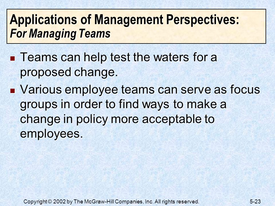 Applications of Management Perspectives: For Managing Teams