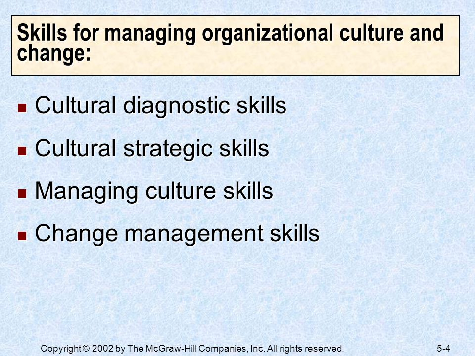 Skills for managing organizational culture and change: