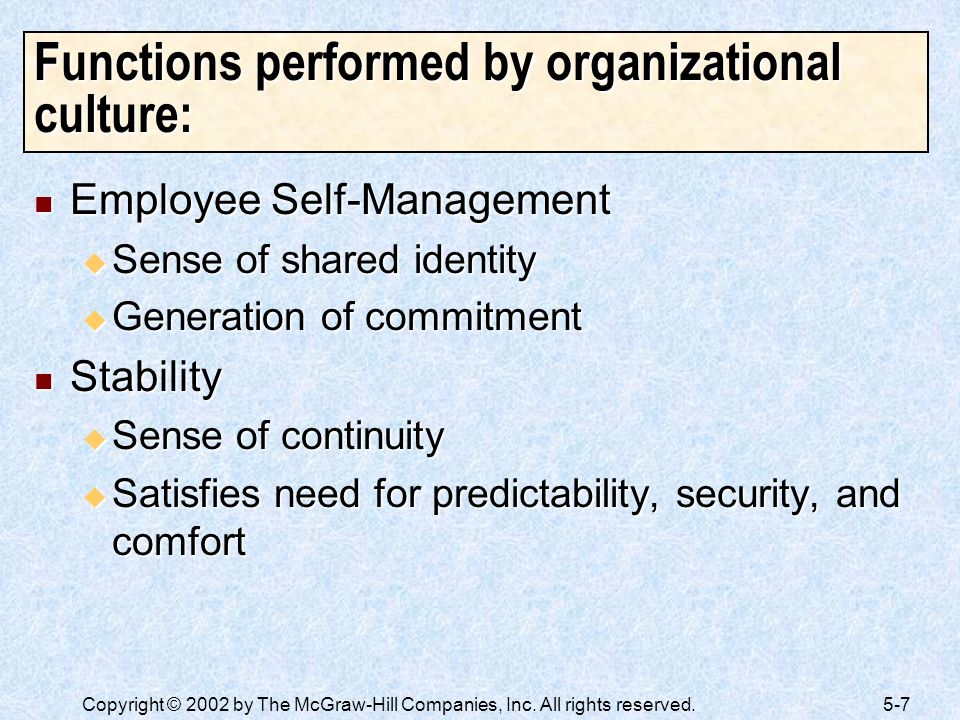 Functions performed by organizational culture:
