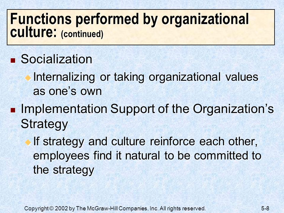 Functions performed by organizational culture: (continued)