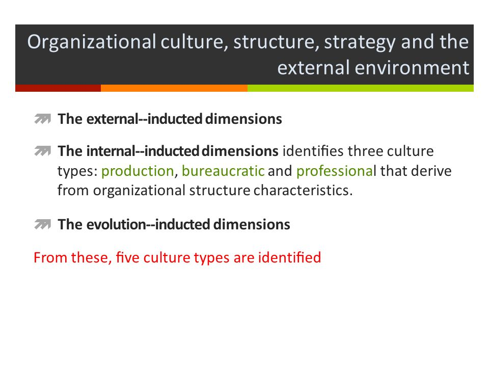 relationship of environment and strategy to corporate culture