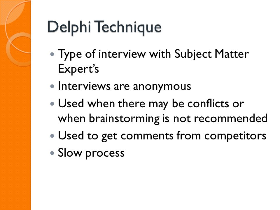 brainstorming interviewing and the delphi technique Risk identification brainstorming delphi technique interviewing swot analysis risk register risk register contents risk register contents (cont'd) table 11-5.