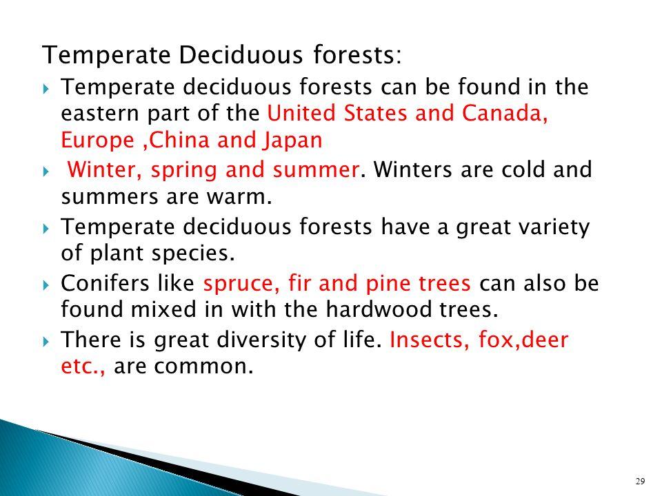 Temperate Deciduous forests: