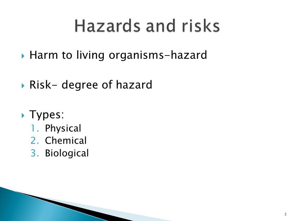 Hazards and risks Harm to living organisms-hazard