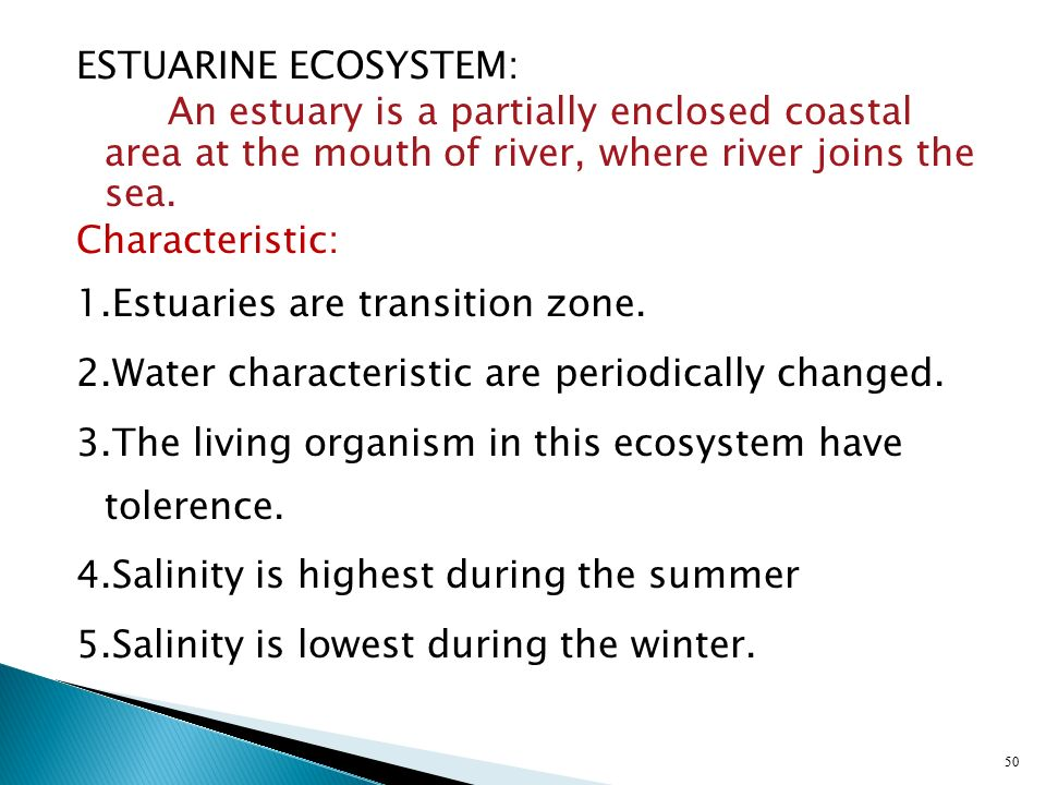 ESTUARINE ECOSYSTEM: An estuary is a partially enclosed coastal area at the mouth of river, where river joins the sea.