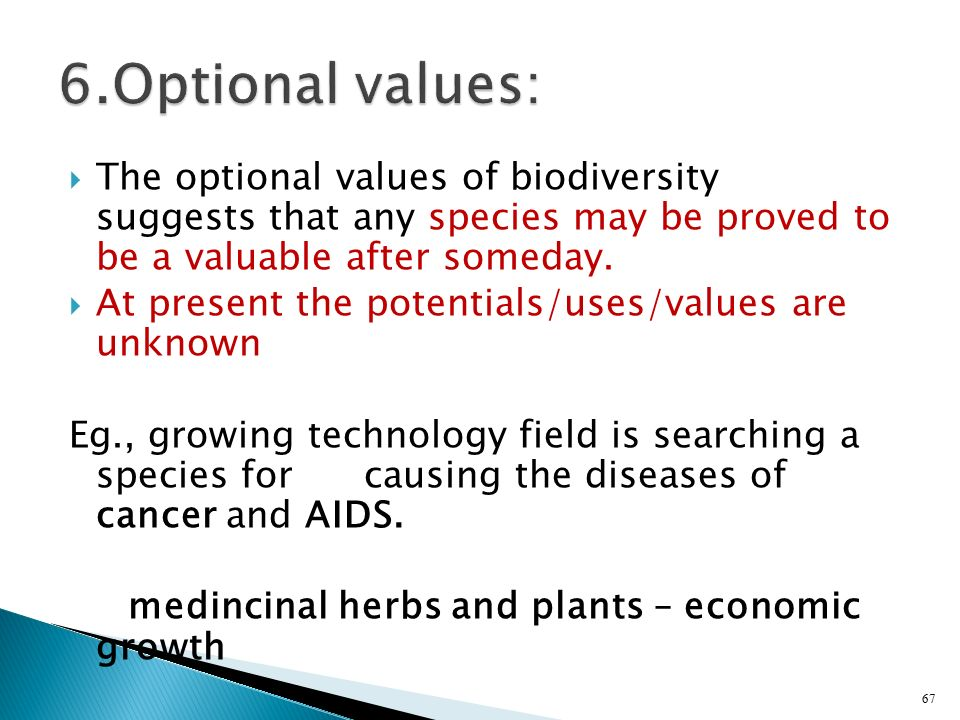 6.Optional values: The optional values of biodiversity suggests that any species may be proved to be a valuable after someday.