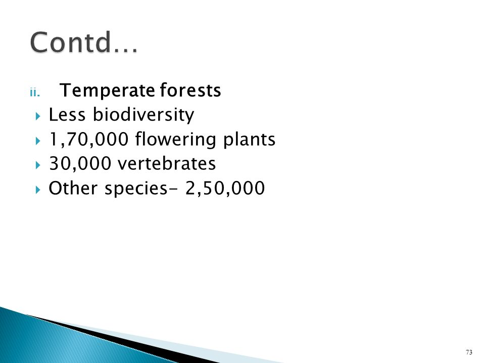 Contd… Temperate forests Less biodiversity 1,70,000 flowering plants