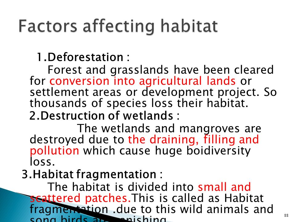 Factors affecting habitat