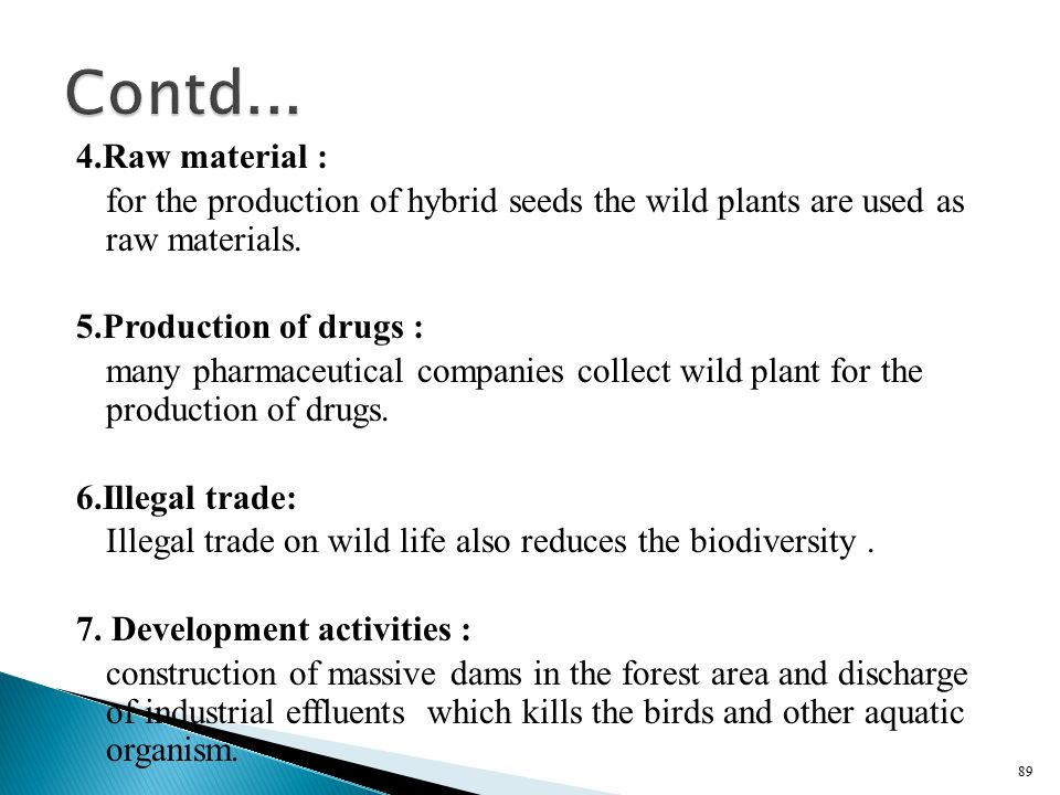 Contd... 4.Raw material : for the production of hybrid seeds the wild plants are used as raw materials.