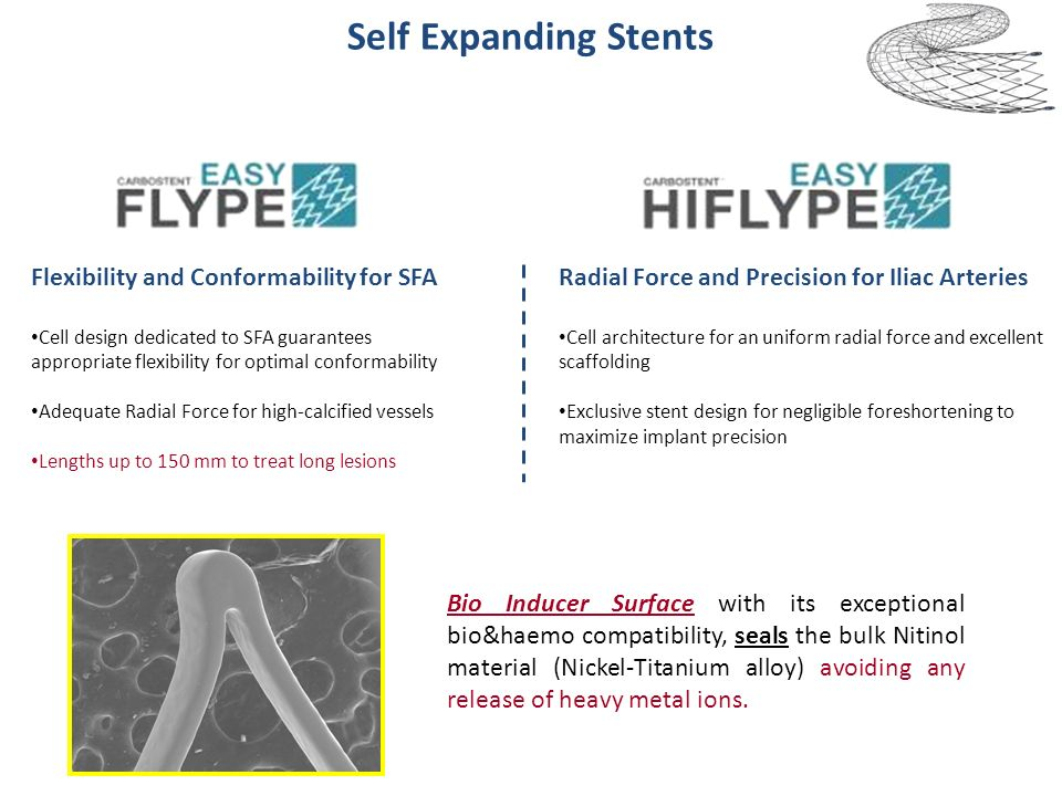 Self Expanding Stents Flexibility and Conformability for SFA