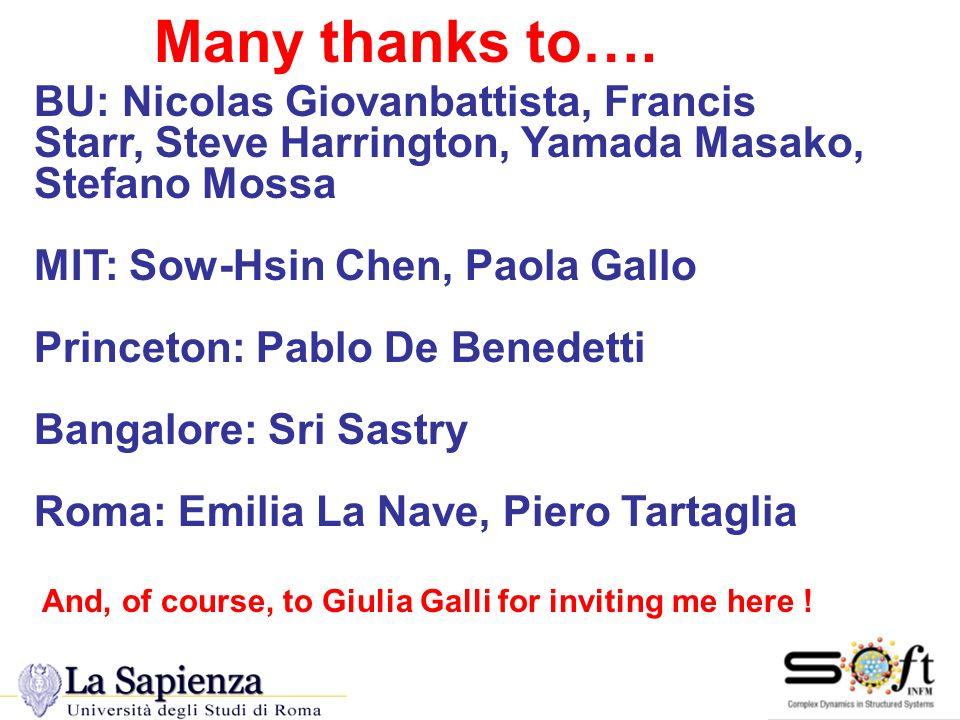 Many thanks to…. Many Thanks BU: Nicolas Giovanbattista, Francis