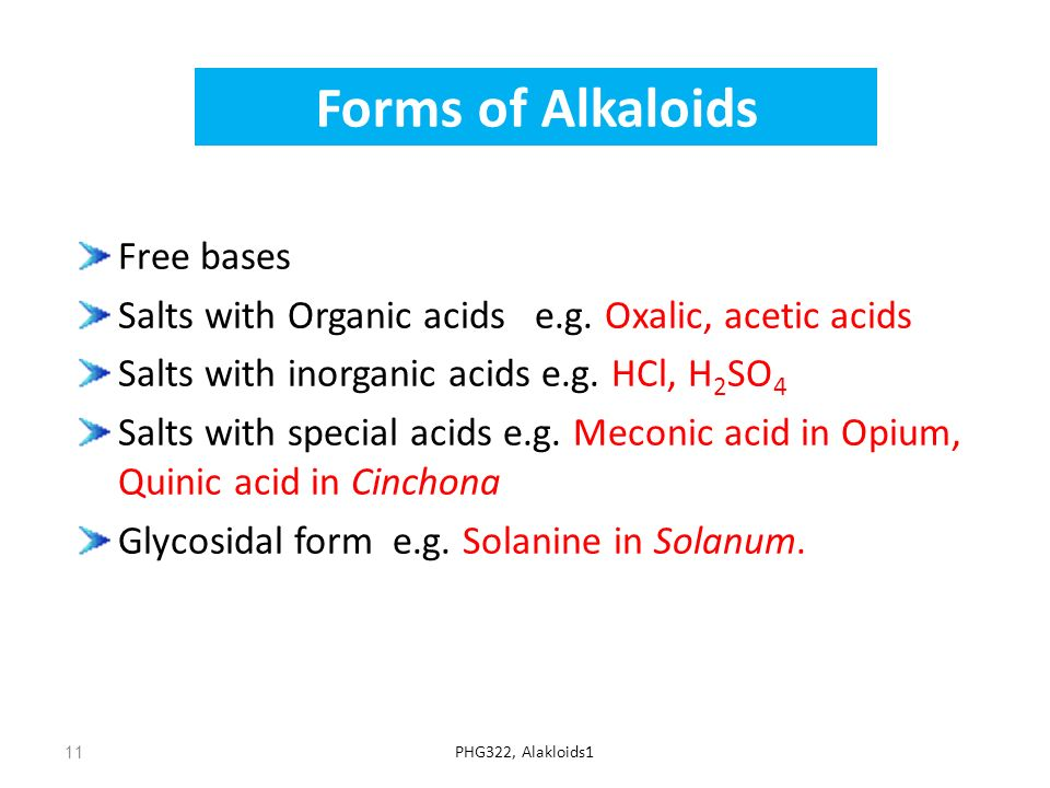 Forms of Alkaloids Free bases