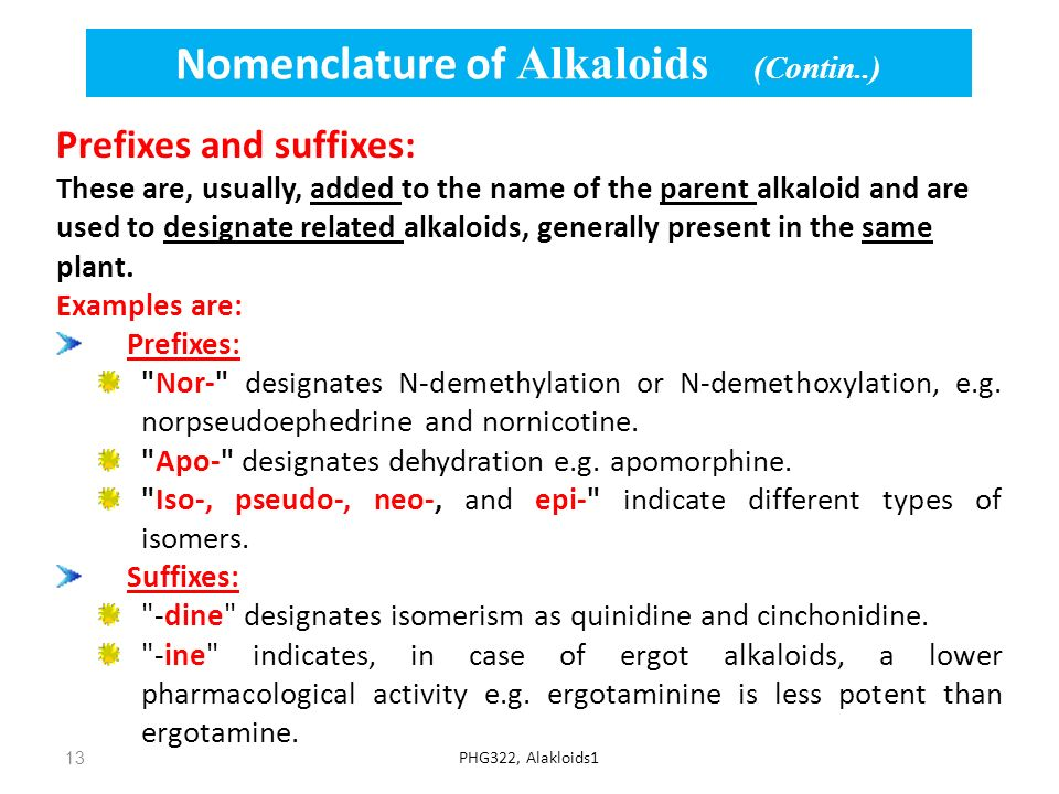 Nomenclature of Alkaloids (Contin..)