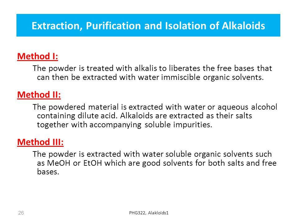 Extraction, Purification and Isolation of Alkaloids