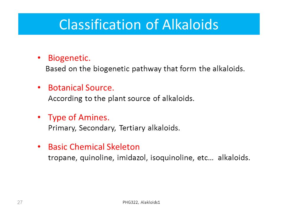 Classification of Alkaloids